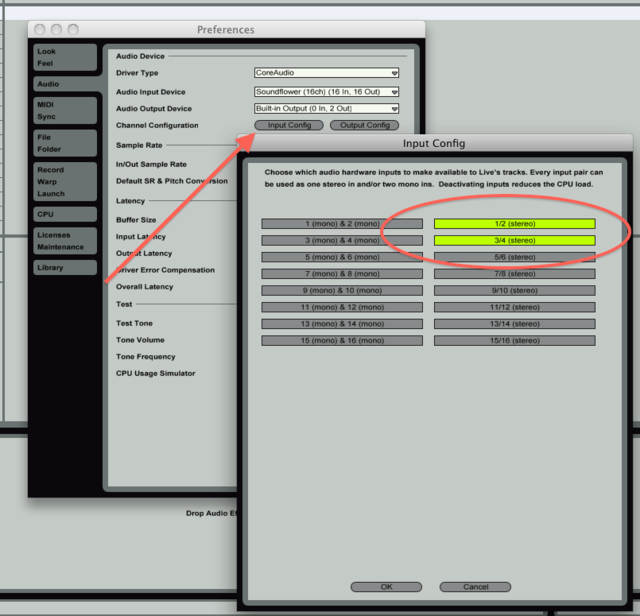 Ableton Live Input Routings