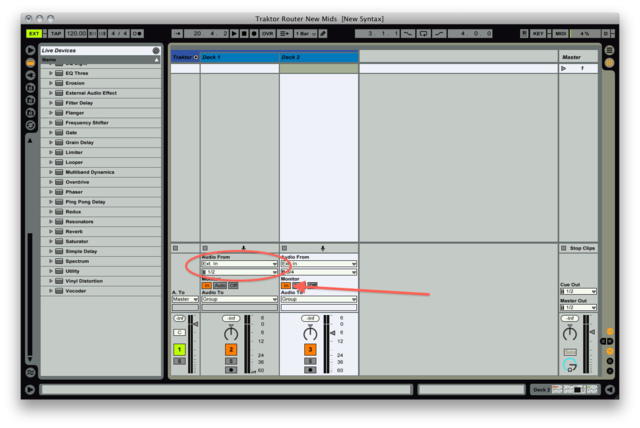 Ableton Live Track Routings